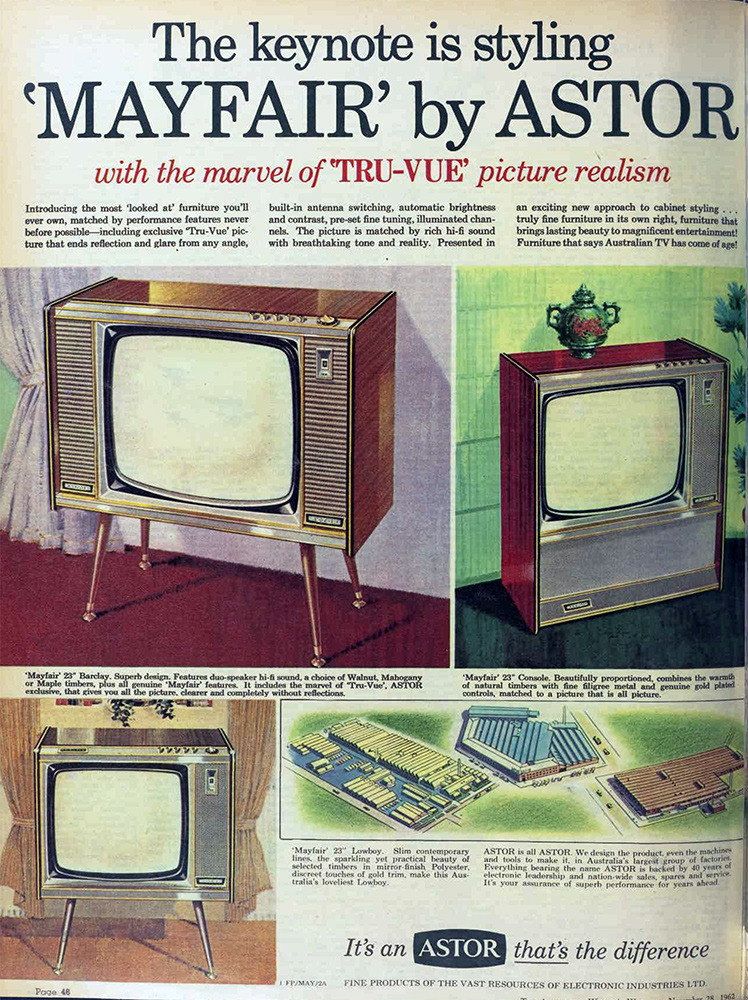 vivatvintage:  Mayfair TVs by Astor, 1962