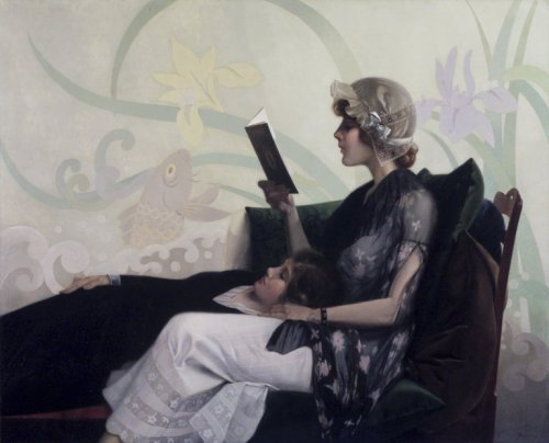 suicideblonde:  Just a Couple of Girls (1915) by Harry Wilson Watrous  Women who read are dangerous