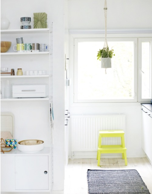 White and neon kitchen