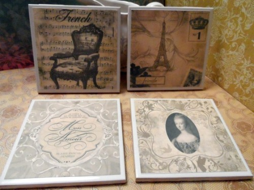 French Ephemera Shabby Chic Coaster Set from lorrained48 via (copious)