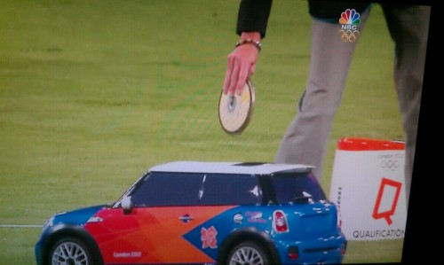 jamaicanbobsledteam:  THEY PUT THE DISCUS IN A REMOTE CONTROLLED MINI COOPER TO GET IT BACK TO THE ATHLETES