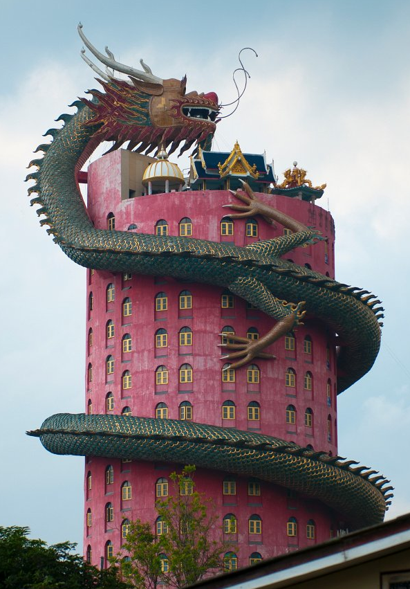 The Dragon Building in Wat Samphran, Thailand by Jorge Macedo
