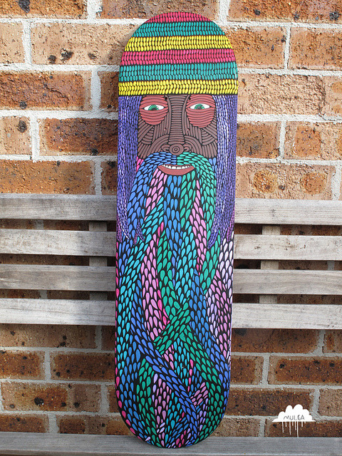 verbconjugatorplusherbinhalator:  Rasta beard Skate deck by Mulga The Artist on Flickr. if only you were a longboard…