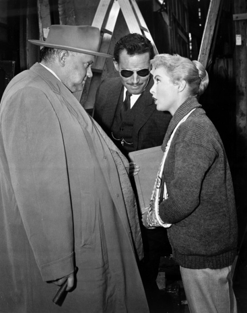 wandrlust:  Orson Welles, Charlton Heston, and Janet Leigh on the set of Touch of Evil (1958)
