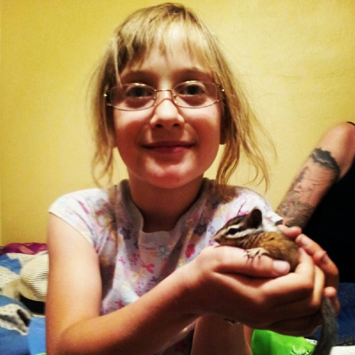 this is my daughter holding stevie wondernuts a rescue #blind #chipmunk