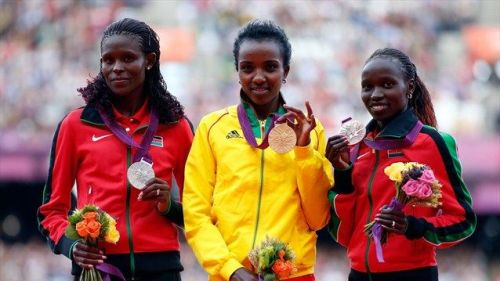 Gold, Silver and Bronze for East Africa in the women's 10,000m race at his year's London 2012 Olympics. Ethiopia's Tirunesh Dibaba defended her title and took home the gold medal, whilst Kenya's Sally Jepkosgei Kipyego was winner of the silver medal followed by her fellow countrywoman Jepkemoi Vivian Cheruiyot won bronze.