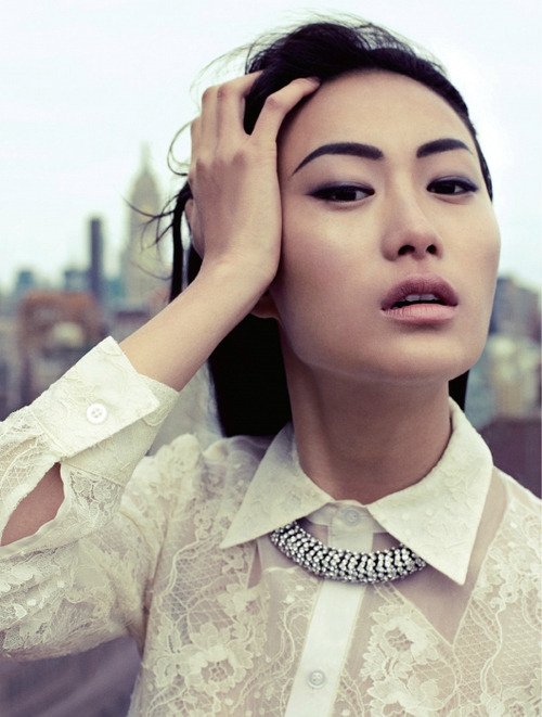 pretaportre:  Lincoln Pilcher captures a bold Shu Pei on the top of a New York City building wearing gorgeous, sheer layers that beautifully blow around in the wind.