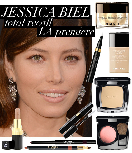 Get Jessica Biel's exact look from the 'Total Recall' LA Premiere!Makeup artist: Kara Yoshimoto (CHANEL) Prep: CHANEL Sublimage Eye Essential Regenerating Eye Cream ($200) FoundationCHANEL Vitalumiere Aqua Ultra-Light Skin Perfecting Makeup SPF 15 in Beige 20 ($45)CHANEL Eclat Lumiere Highlighter Face Pen in Light Medium ($40)CHANEL Poudre Universelle Compacte Natural Finish Pressed Powder in 30 Naturel ($45)BlushCHANEL Joues Contraste Powder Blush in Rose Ecrin ($43) EyesCHANEL Stylo Yeux Waterproof Long-Lasting Eyeliner in Grenat ($30)CHANEL Inimitable Waterproof Mascara in Noir ($30) LipsCHANEL Le Crayon Levres Precision Lip Definer in Praline D'Or ($29)CHANEL Rouge Coco Hydrating Creme Lip Color in Superstition ($32.50)