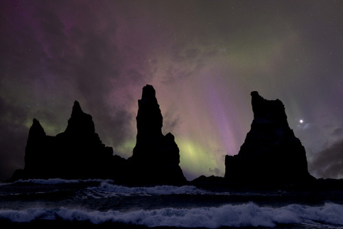 Aurora borealis in the night sky over Iceland….