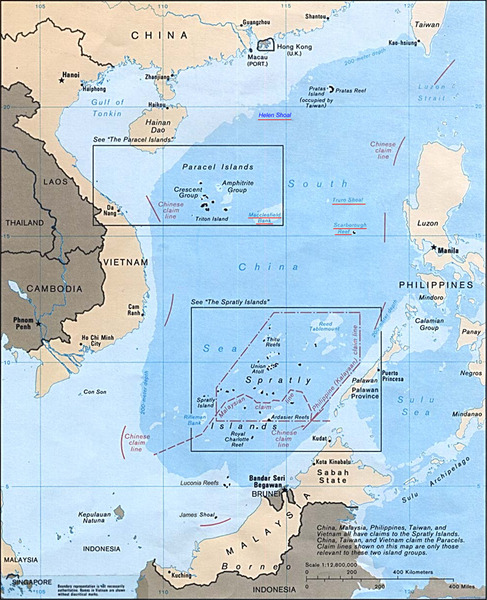 "South China Sea Islands Map (Wikipedia).  The island groups of the Spratlys, the Paracels and the Macclesfield Bank known in Chinese as the Xisha, Zhongsha and Nansha Islands. China opposes US statement on South China Sea China expressed its strong dissatisfaction and resolute opposition on the press statement released Friday by the US Department of State on the South China Sea, Foreign Ministry spokesman Qin Gang said Saturday. The statement ""completely ignored the facts, deliberately confounded right and wrong, and sent a seriously wrong signal, which is not conducive to the efforts safeguarding the peace and stability of the South China Sea and the Asia Pacific region,"" Qin said in a statement. China has indisputable sovereignty over the Nansha Islands and their adjacent waters, and has ample historical basis for this, said Qin. China set up offices in Xisha, Nansha and Zhongsha Islands, which were affiliated to the Guangdong Province, in 1959, to administrate the three islands and their adjacent waters, said Qin. ""Setting up Sansha city is the Chinese government's necessary adjustment of the current administrative agencies, which is completely within China's sovereignty,"" he said. It needs to be pointed out that China and regional countries have worked to maintain the peace and stability of the South China Sea, and safeguard the freedom of navigation and trade in the past 20 years, said Qin. In 2002, China and Association of the South East Asian Nations (ASEAN) countries signed the Declaration on the Conduct of Parties in the South China Sea (DOC), which states that sovereign states directly concerned should resolve their territorial and jurisdictional disputes by peaceful means and through friendly consultations and negotiations, and should not take moves that will escalate and complicate the disputes, said Qin. However, it is worrisome that certain countries do not respect and abide by the DOC, by undermining the basic principle and spirit of the DOC again and again in a provocative way, said Qin. ""This has created difficulties for the negotiation of the Code of Conduct (COC)."" Therefore, China, while holding an open attitude towards the negotiation of the COC with the ASEAN countries, advocates that parties concerned should strictly abide by the DOC, so as to create necessary conditions and atmosphere for the negotiation of the COC, Qin said. The United States on Friday voiced concerns about rising tensions over the South China Sea, and cited China's establishment of Sansha city and garrison to single Beijing out for criticism."