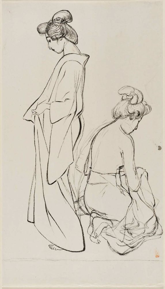 yajifun:  Standing Woman and Kneeling Woman / Hashiguchi Goyo 素描 橋口五葉 年代不詳