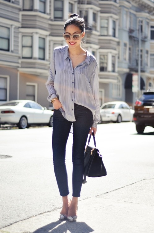 glamour:  Sometimes a button down and jeans are all you need to be effortlessly chic.