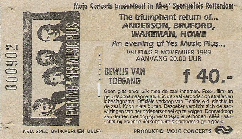 Concert tickets from the past….Anderson Bruford, Wakeman and Howe, live Ahoy, Rotterdam (The Hague), Netherlands, nov.3rd 1989. Or in other words YES without Chris Squire. Tony Levin was a more than capable replacement for Chris in that tour.