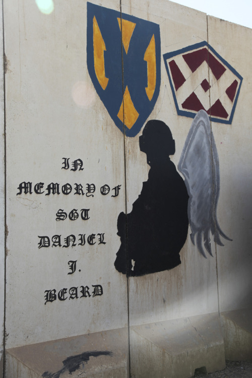 A T-wall on Contingency Operating Base Adder, Iraq. All of the T-wall art on COB Adder was painted by military and civilian personnel during Operation Iraqi Freedom or Operation New Dawn. (Photo by Spc. Johnny Curry, 9 October 2011via DVIDS.)