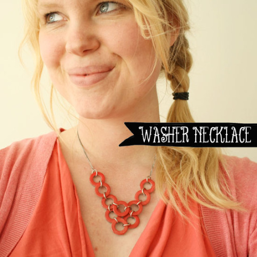 DIY Washer Necklace Tutorial from By Wilma here. The cool thing about this necklace is you use nail polish on one side and then can flip it over for an aged silver look. Tip: you could also use different colors of electrical wire to join the washers - I have whole sets of colorful electrical wire that I use in a ton of ways for different crafts. I love hardware jewelry - especially washers because they are so cheap and I have seen lovely jewelry created with them. *To see more projects using hardware washers go here: truebluemeandyou.tumblr.com/tagged/washers *For DIY hardware store jewelry in general go here: truebluemeandyou.tumblr.com/tagged/hardware