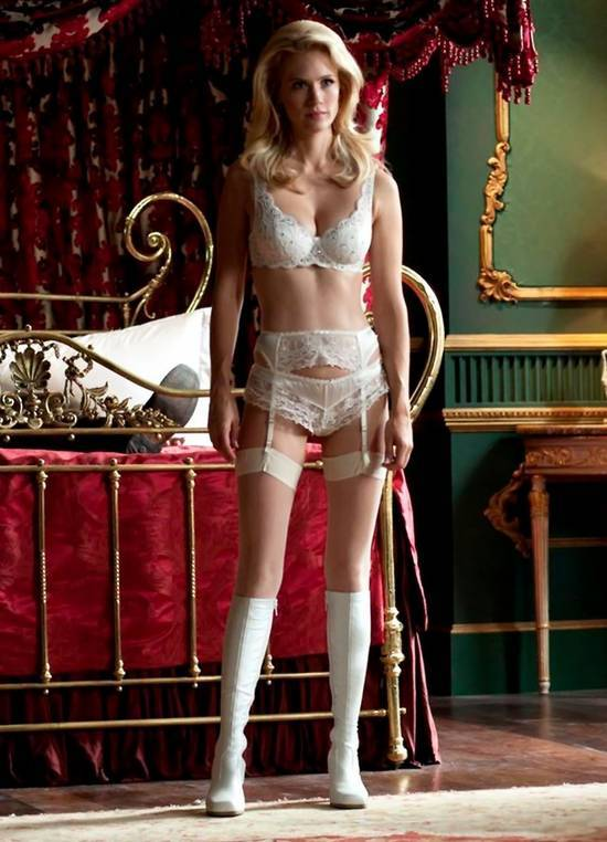 January Jones Wearing Lingerie X Men First Class via hotcelebshome.com