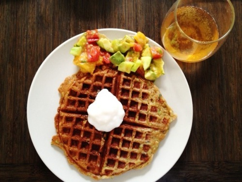 Zucchini Bread Waffles with Mango, Avocado, and Heirloom Tomato Salad