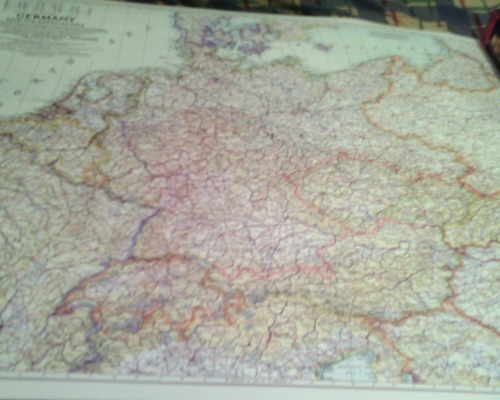 lordclaremorris:  My National Geographic map of Germany with its 1937 borders, before it had been stripped of East Prussia, Further Pomerania, and Silesia. I don't have any wall space for it currently though, as my wall is covered by other maps. :P