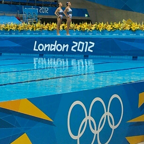 Team ESP strikes a pose for synchronized #swimming #olympics  (Taken with Instagram)