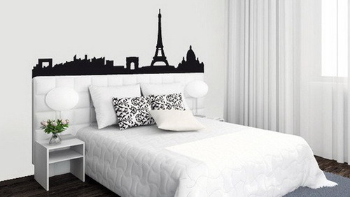 homeandinteriors:  Black, White & Pink Paris themed bedroom inspiration