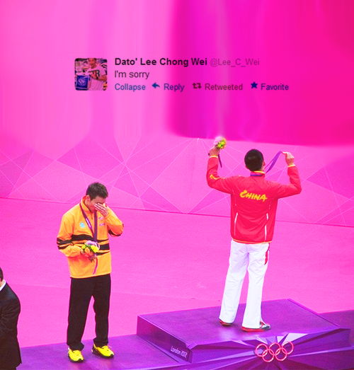 kidrauhlsslave:   Don't be sorry. You did well enough, #ThankYouLeeChongWei :')  omg. Bby, don't be sorry, you're a real hero for us :'/