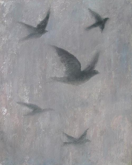 Flying in silver skies with grey clouds by Celeste Paulick