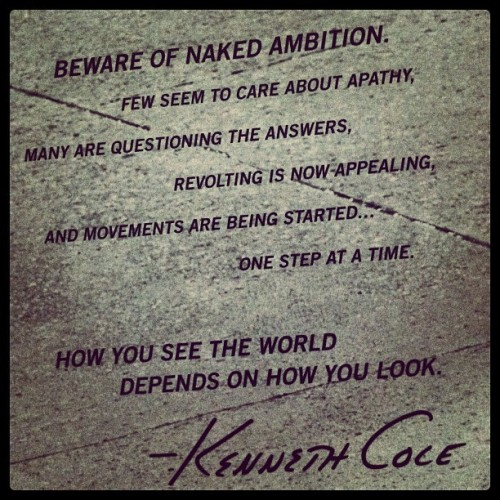 """HOW YOU SEE THE WORLD DEPENDS ON HOW YOU LOOK."".- #KennethCole #Quote @interviewmag  (Taken with Instagram)"