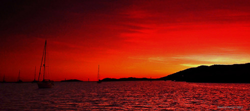 Red Sunrise Off Able Point by nauticalnancy - Enjoying the Whitsunday Islands on Flickr.