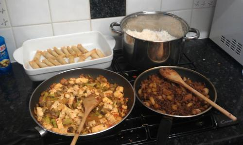 killallthemensandmakeintocatfood:  Ma po tofu with mushrooms and broccoli and soya mince with potatoes and carrots in black bean sauce served with spring rolls and boiled rice. What me littlepeopleinlittlehouses, cuddlesandcock, wonkycactus and Liam made after our fab adventure to the chinese supermarket. nomnomnom And also frollicked in the rain and drunk lots of rose innit.