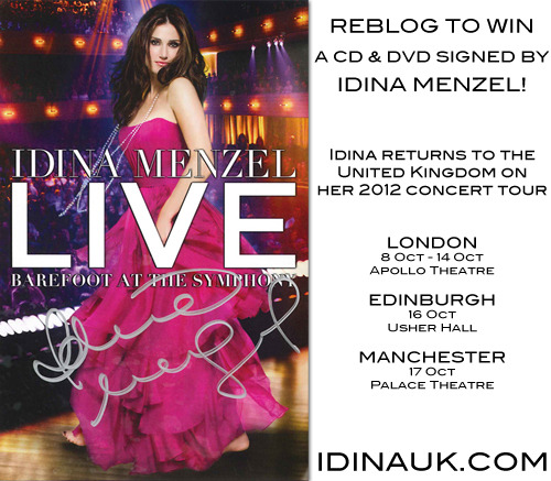 "idinamenzel:  Reblog this post to be entered to win an autographed set of Idina's ""Barefoot at the Symphony"" on DVD and CD! Rules: Gotta Like Idina's UK tour producer Speckulation on Facebook! Gotta follow Idina on tumblr! Gotta reblog it (likes don't count). Reblog it as many times as you want! Gotta have your ask box open. Gotta reblog it on or before August 10, 2012 at 11:59PM GMT. Contest is open to everyone worldwide. 1 winner, drawn at random, will receive 1 copy of Barefoot at the Symphony on DVD and 1 copy on CD, both autographed by Idina Menzel! Tickets for all UK concerts are available at IdinaUK.com. The CD and DVD are available for purchase at IdinaMenzel.com.  The DVD is Region Free and will play on DVD players of any region."