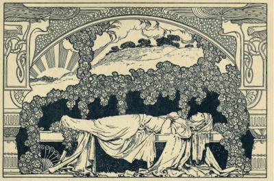 Rubáiyát of Omar Khayyám (1913)Illustrations by René BullAh, make the most of what we yet may spend,Before we too into the Dust descend;Dust into Dust, and under the Dust, to lie,Sans Wine, sans Song, sans Singer, and                                            -sans End!