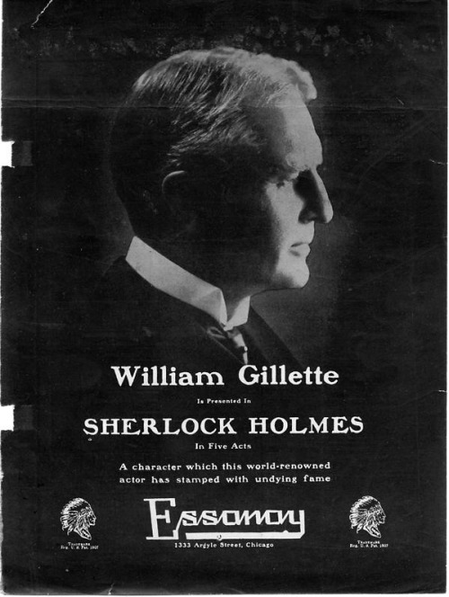 "Advertisement for the 1916 film ""Sherlock Holmes"".  Printed in the March,1916, issue of ""The Moving Picture World"".  image courtesy of the Elmer L. Andersen Library  (Original post: August, 2012)"
