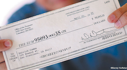 "longreads:  A man receives a non-negotiable junk mail check for $95,093.35 in the mail, and decides to deposit it in his bank account as a joke. It actually clears his account:  The first friend I phoned informed me that it was no mistake at all. Just standard bank policy, crediting my account with the dollar amount but putting a hold on all the funds until the cheque bounced. I couldn't touch the money and my bank balance would be embarrassing again in three days. But seven long days later the lottery-like amount was still there and I visited the bank where an employee told me that the funds were now all available for cash withdrawal. All $95,093.35 was mine for the taking. All I had to do was ask. Windfall money begs us to take it and run. But I restrained myself. And gave the bank another two excruciatingly long weeks to do their job, catch up with their mistake, and bounce the cheque. But at the end of three hellish weeks, during which I hourly resisted the urge to take the money and run to Mexico, where it would be worth twice as much, I was told by my branch manager, 'You're safe to start spending the money, Mr Combs. A cheque cannot bounce after 10 days. You're protected by the law.'  ""A Man Walks into a Bank."" — Patrick Combs, Financial Times More Financial Times"
