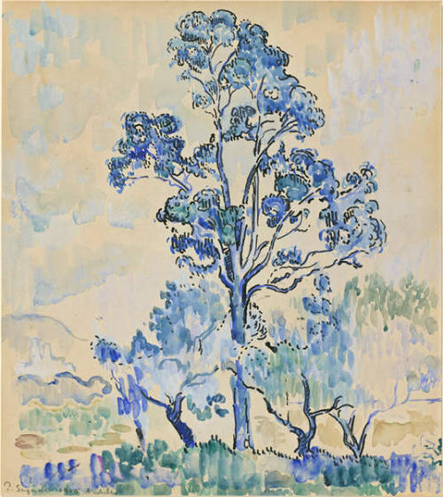 "thegetty:   Paul Signac (French, 1863-1935), Eucalyptus à Antibes, 1910. Black ink, watercolour and gouache, 39 x 34.5 cm. Collection James T. Dyke.  Signac quoted Delacroix approvingly: ""L'ennemi de toute peinture est le gris!"" (""Gray is the enemy of all painting!"")"