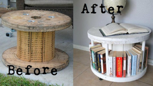Cable spool turned bookcase by Pink Stitches