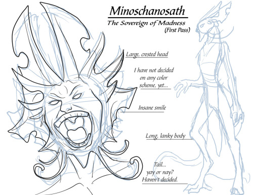 First pass doodle of Minoschanosath, one of the five Sovereigns of Chaos.  These supernatural beings are ancient demonic creatures as old as the universe itself.  They are very powerful and very evil creatures who dwell in the infernal plane (the Azure Wheel equivalent to hell).  In the past few billion years, they have had no reason to manifest onto the material plane… but that all changed when the Lifestream came into existence and the creatures of the Azure Wheel began to evolve.  Now it is only the power of the Lifestream that keeps these beasts at bay.  Few mortals even know of their existence, save for a few insane cults. Minoschanosath is the Sovereign of Madness, who in my opinion is the most terrifying of the five.  Think of him as a mish-mash between Sheogorath from the Elder Scrolls games, Xel'lotath from Eternal Darkness: Sanity's Requiem, and the most psychotic serial killer that you can think of. When he speaks, one hears three different voices talking rather than one.  His mere presence is a poison to the mind. I do have an idea of his appearance in my head.  I just need to think of the small details.  I'm really not sure what his color scheme is going to be like, but I'd like to stay away from reds because I feel they're too cliche. I'd really like to do something with the sovereigns in my stories, but like with many other things, they're taking a seat on the backburner.  Maybe I'll end up doing something with the cults that worship them instead.