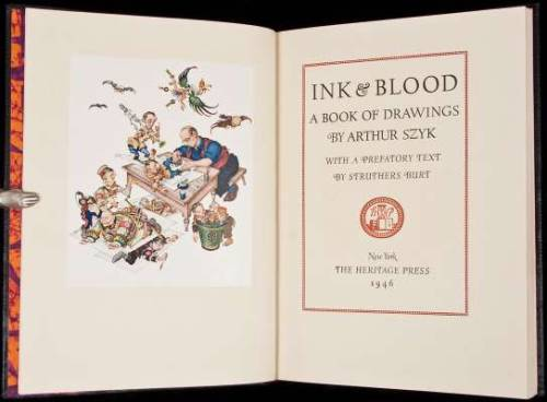 "Ink & Blood. A Book of Drawings Arthur Szyk. New York, Heritage Press,1946.  14], 18, [3] pp. + 4 color plates and 70 monochrome plates. Also with a color frontispiece depicting Szyk at work. With a prefatory text by Struthers Burt. 12¼x9, original morocco, top edge gilt, spine gilt-lettered; original batik-printed board slipcase. One of 1000 inscribed and signed copies.  This copy inscribed for Byron Nishkian. Important post-Holocaust drawings by Szyk. As Burt wrote in the introduction: ""This book…these cartoons, the words that accompany them…have a much deeper purpose than to deride and reveal our recent enemies""…""this is NOT A WAR-BOOK, although most of the cartoons were drawn in the time of war. This is a PEACE-BOOK; a book for the parlous years that follow upon war…"""