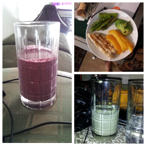 The other day.  Breakfast: blueberry shake — frozen blueberries, 1 tbsp almond butter, 1 tbsp greek yogurt, 2 scoops bbvi mix almond milk, blend.  Lunch: left over chicken breasts with asparagus, bell peppers, and half an avocado.  Dinner: (not photo graphed) chicken.  Water intake: half a gallon.   Workout: training — run. Stretch. Plyos. Dynamic kicking. Speed. Stretch.   Byebye, for now!   Snack: avocado shake — half an avocado, 2 scoops bbvi mix, almond milk, ice, blend.