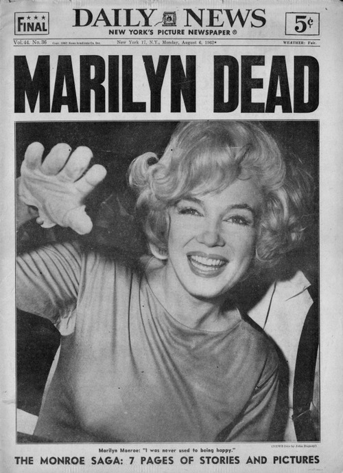 R.I.P. Marilyn Monroe 50 years ago on August 5th, actress, model, singer and sex symbol Marilyn Monroe died at the age of only 36. Her cause of death was a Barbiturate overdose, a drug. 50 years later the spirit of Marilyn Monroe lives on as a symbol of 1950-60's.