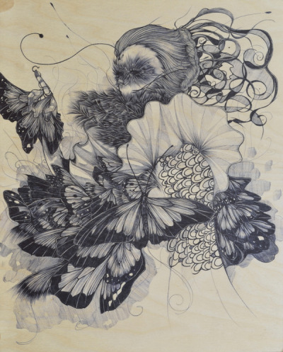 "mydarkenedeyes:  Evens Joseph (On Tumblr) - Heliconius Erato Ink on wood, 16 x 20"" Progress shots here.  Woww"