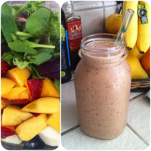 This morning's smoothie: banana, nectarine, strawberries, greens, hemp hearts and ice. It's massive! (Taken with Instagram)