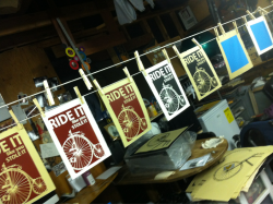 More prints drying for Bicycle Show.