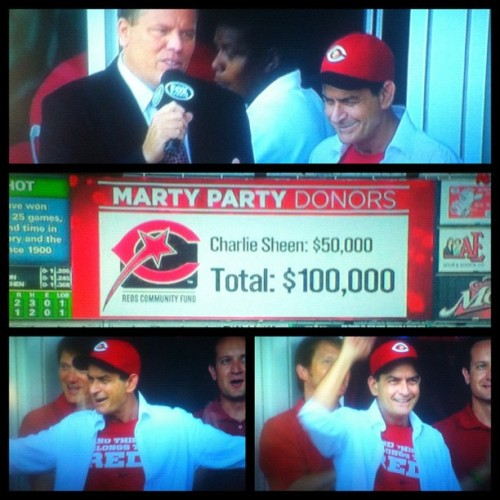 Charlie Sheen breaks out his wallet for the Reds Community Fund! The proceeds go to at-risk kids throughout Greater Cincinnati. (Taken with Instagram)