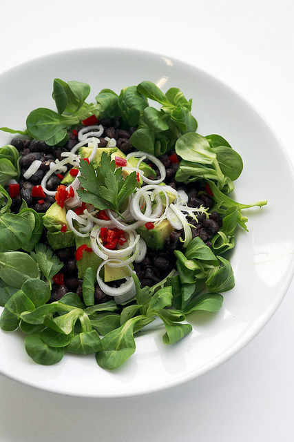 saladpride:  Black Beans, Avocado and Chilli Pepper on Flickr.