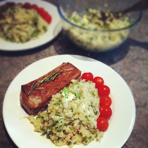 Loin of lamb, and cauliflower salad (fake couscous) with a tangerine dressing. #meal #lowcarb #healthy (Taken with Instagram) Get the recipe for cauliflower fake couscous from my food blog, Tummyrumble.