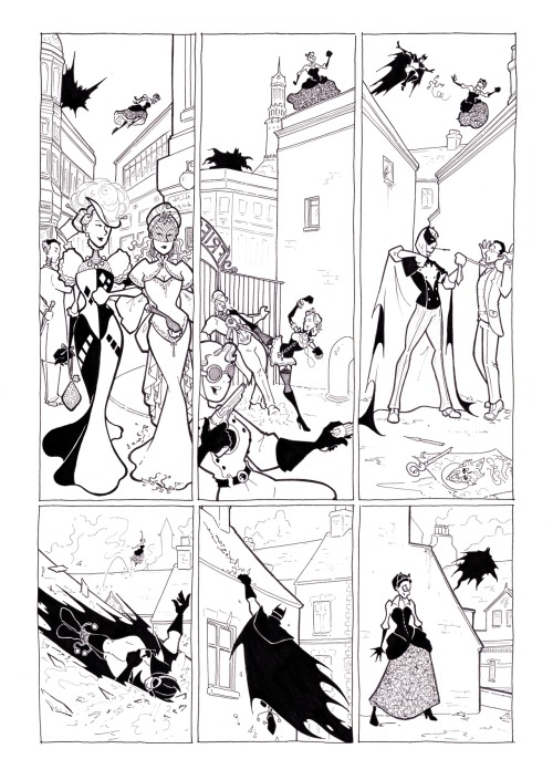 bevismusson:  Edwardian Batman Chase Me page 3, all finished and inked. Who says I don't draw backgrounds?  This is fantastic! So fun.