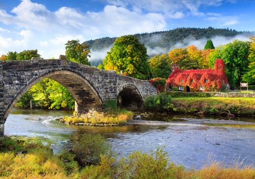 bluepueblo:  Ivy and Mist, Llanrwst, Wales photo via chobbit  I've holidayed in Llanrwst; lovely place.