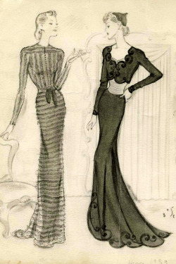 Drawing by Fernando Bosc, Balenciaga Spring/Summer 1939