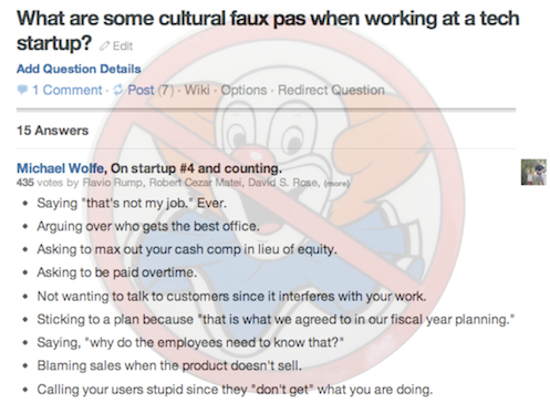 "@michaelrwolfe nailed it when answering, ""What are some cultural faux pas when working at a tech startup?"" on Quora. We at the Founder Institute just covered ""Cofounders, Hiring & Firing"" and Michael precisely answers what a ""bozo"", that creature that Steve Jobs so thoroughly disdains. Yes, startups, you need a No Bozo Policy."