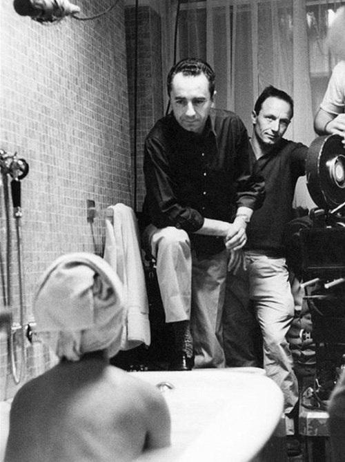 "Michelangelo Antonioni & Jeanne Moreau on the set of ""La Notte"" (1961)"
